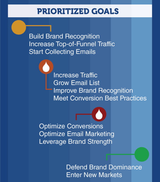 Prioritized Goals for Digital Marketing by Brand Lifecycle Stage.