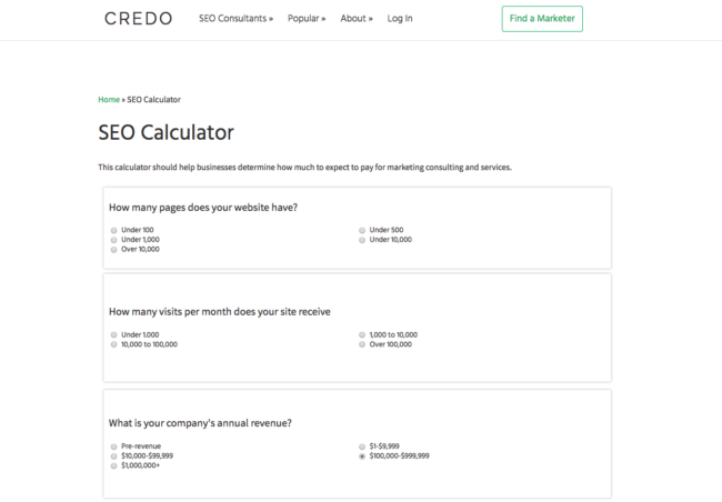 SEO calculator screenshot