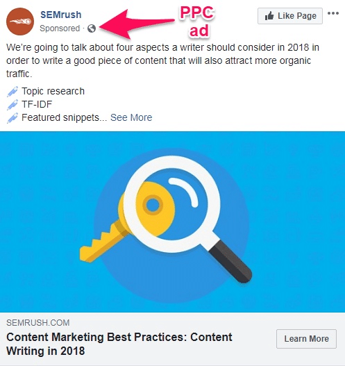 PPC ad integrated into user feeds