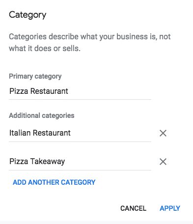 Google My Business categories