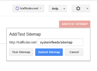 enter relevant URL for sitemap