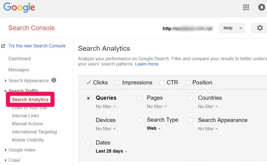 keyword information in Search Console