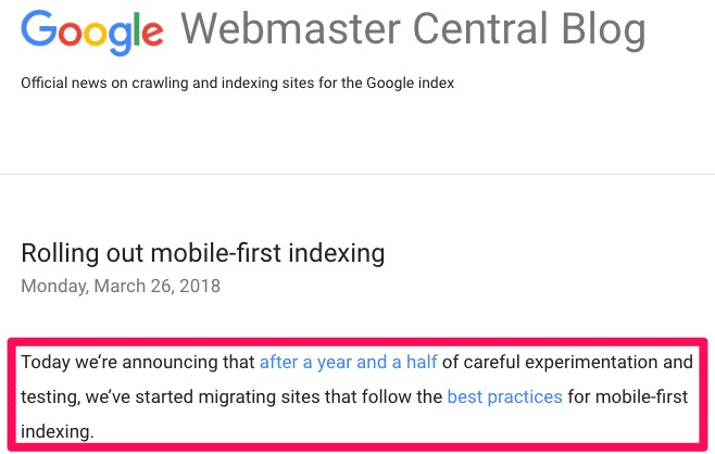 mobile-first indexing update