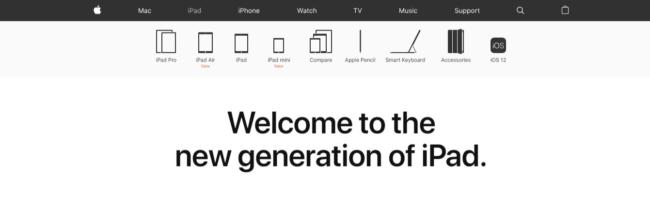 apple website page shop ipad