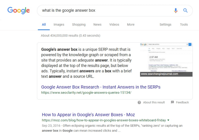 Screenshot of Google Answer Box in a Google search window