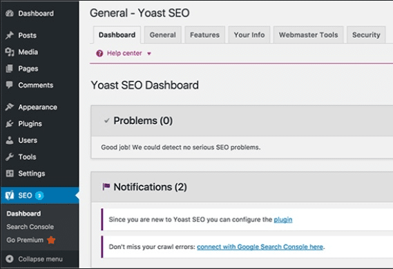 Wordpress plugin YOAST SEO dashboard