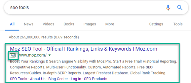 SEO tools google search result page moz
