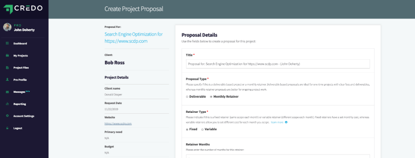 Proposal creation