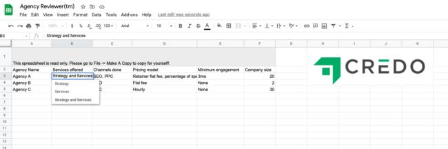 Hiring an agency review spreadsheet